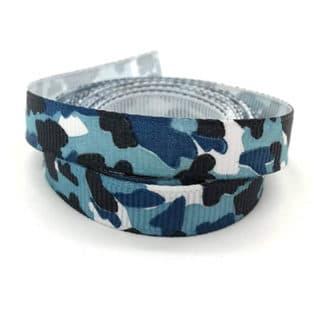 Ribbel lint grosgrain leger blauw print 1cm breed sleutelhangers maken