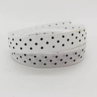Goedkope groothandel verpakking grosgrain lint wit met zwartjes stipjes 1cm
