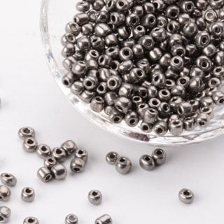 Seeds beads glas 4mm donkergrijs