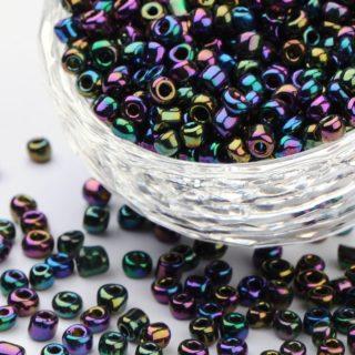 Seed beads 4mm glas kraaltjes zwart ab