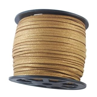 Rol suède veters goud glitters 3mm faux