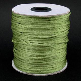 Satijn nylon koord 2mm dik olijf groen rol