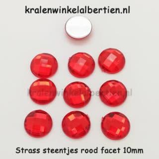 Strass stenen rood facet rond 10mm
