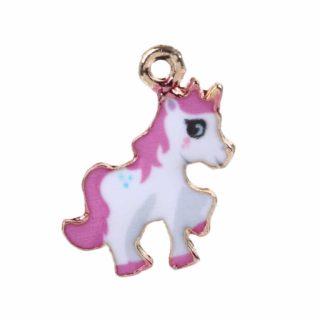 Unicorns metalen bedeltjes roze goud