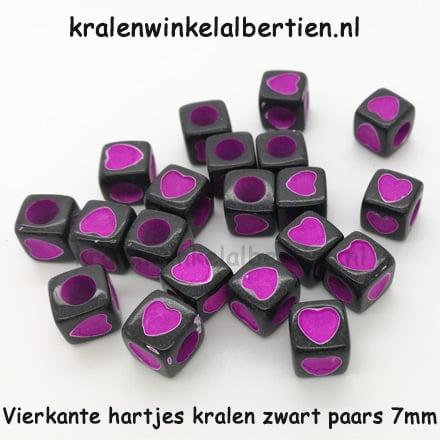 3cfd32bcc4b Hartjes kralen vierkant zwart paars 7mm 20 stuks - Kralenwinkel ...