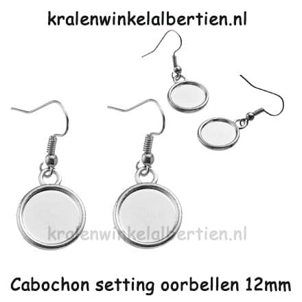 Zilverkleurige oorbellen nikkelvrij cabochons settings rond 12mm