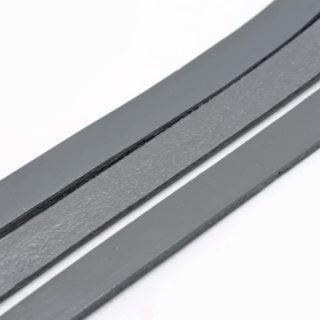 Echt leren koord 10mm grijs plat 2mm dik