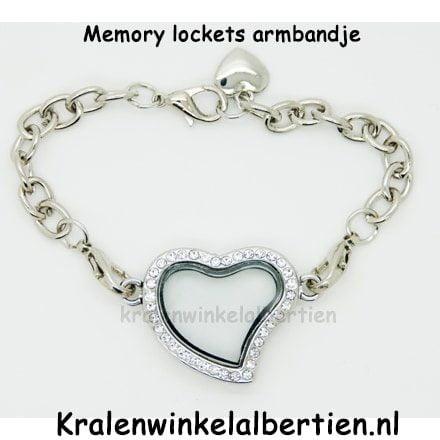 Memorie medaillon armband hartje zilver charms