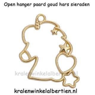 Open bezel bedel goudkleurig paard resin art epoxy giethars sieraden maken