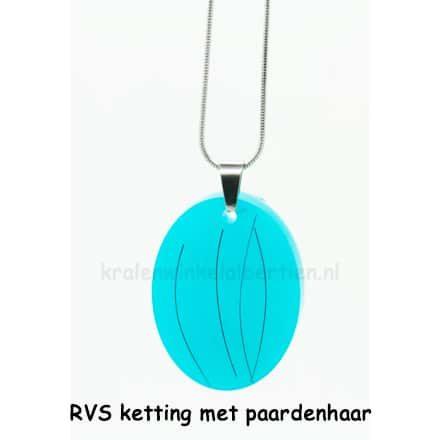 Paardenhaar sieraad ketting ovalen hanger blauw