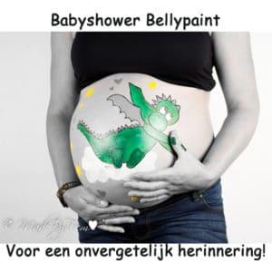 Babyshower ideeen fotoshoot buikschildering feestje
