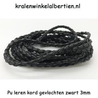 Imitatie leer koord zwart 2mm gevlochten