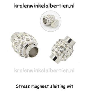 Luxe ronde magneet sluiting wit strass steentjes paardenhaar sieraad zelf maken