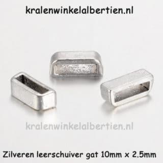 Kraal met groot gat zilver leer 10mm gat