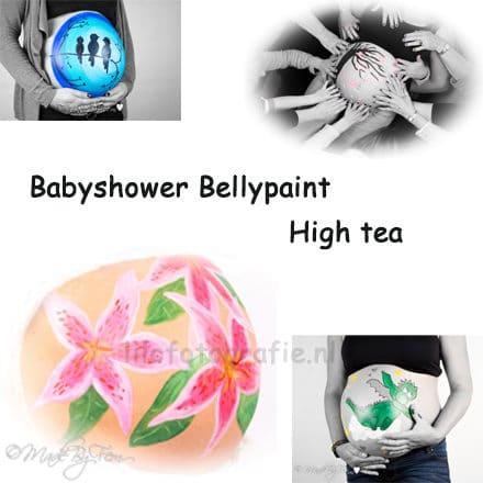 Baby shower zwangere feestje buikschildering verrassing