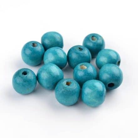 Kraal hout 16mm groot aqua blauw