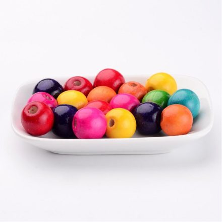 Gekleurde houten kralen 18mm kleuren mix