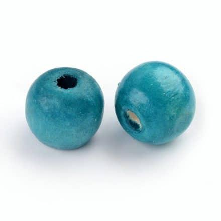 Houten kralen 16mm groot aqua blauw