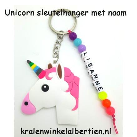 99b05eb9d0f27f Unicorn hanger met naam regenboog kleuren - Kralenwinkel Albertien