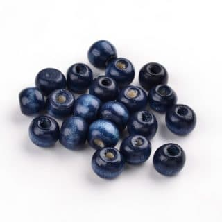 Kleine houten kralen 8mm groot donkerblauw