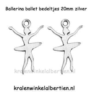 Ballet bedel meisjes sport zilver bedel armbandje