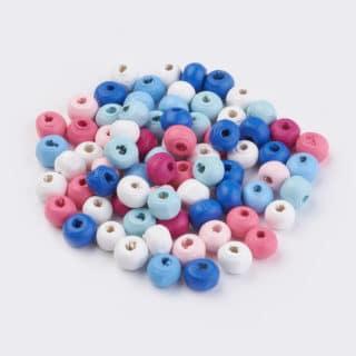 Gekleuren kraaltjes hout 7mm klein blauwe roze witte mix