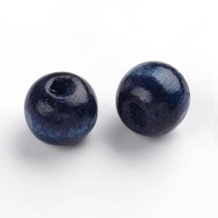 8mm houten kralen donker blauw