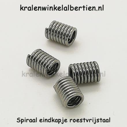 Eind kapjes sieraden maken spiraal tussenstukje Stainless steel
