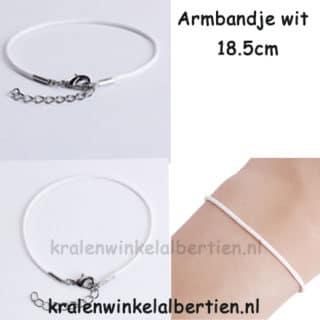 Witte armbandjes 18.5cm sieraden maken met naam