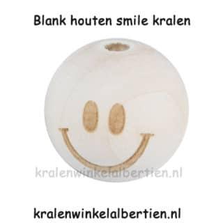 Blanke kraal hout smile 19mm groot