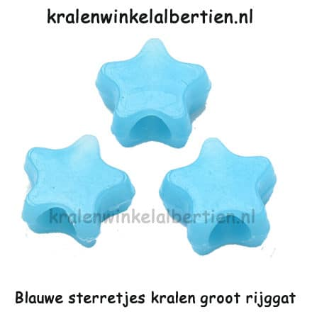 Ster kraal blauw 11mm groot rijg gat kinder armbandjes maken