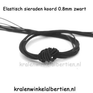 Sieraden elastiek 0.8mm zwart nylon naam armbandjes zelf maken