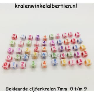Cijferkraal gekleurd vierkant 7mm sos armbandjes maken