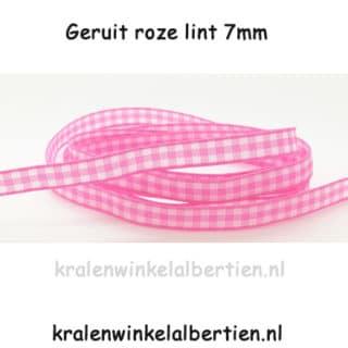 Roze wit ruitjes lint wit 7mm