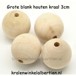 Blanke kralen hout 30mm groot niet gelakt