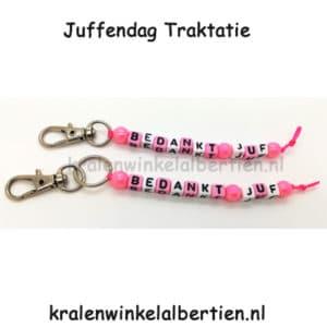 Bedankt juf sleutelhanger roze ideeën cadeau