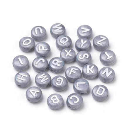 Alfabet kralen zilver grijs 7mm armbandjes maken