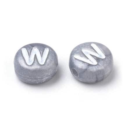 grijs zilver alfabet kraaltjes plat rond