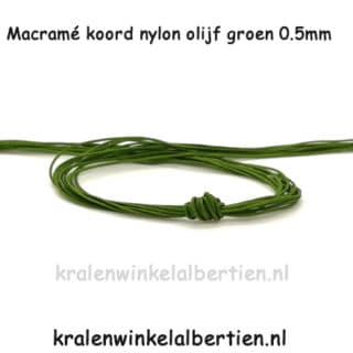 Nylon koord dun 0.5mm olijf groen smelt