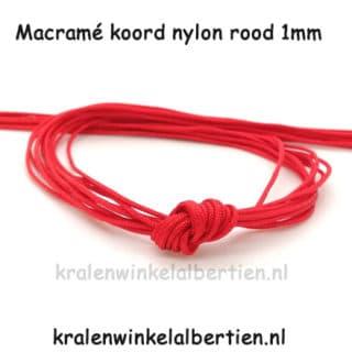Macramé knopen nylon draad rood 1mm