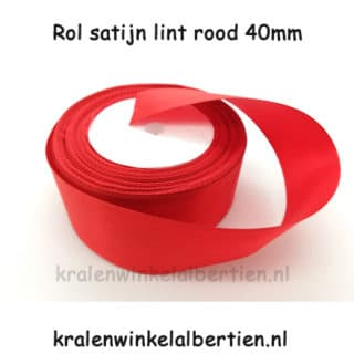 Rolletje satijnen lint 4cm breed rood