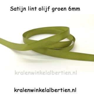 Olijf groen lint 6mm satijn