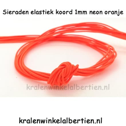 Elastische sieraden koord neon oranje 1mm