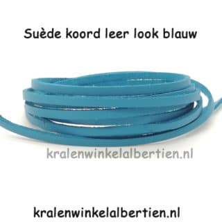 Suède veters leather look 3mm blauw
