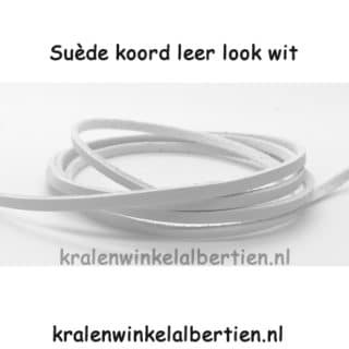 Suède koord wit leather look imitatie leer 3mm