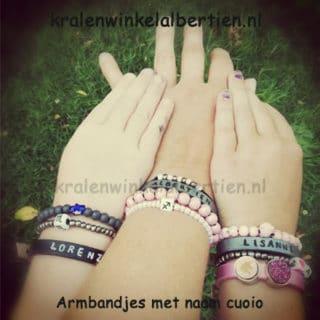 Hippe armbandjes grijs roze