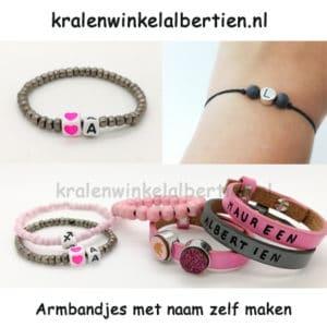 Armbanden zelf maken letterkralen roze grijs unicorn cabochons