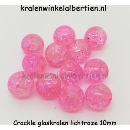 Glazen kralen lichtroze crackle 10mm rond