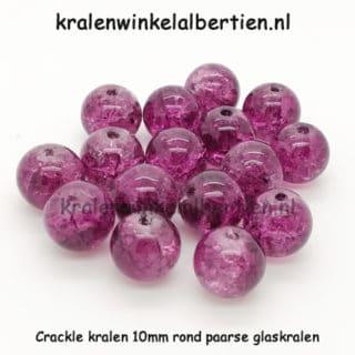 Glazen kraal 10mm rond paars crackle