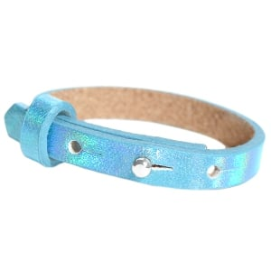 Leren cuoio armbandje holografisch blauw verstelbaar kinderen dames studs